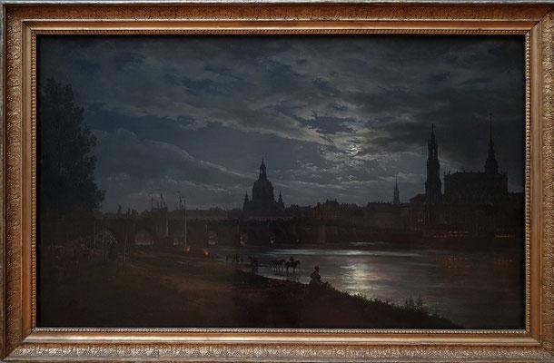 Johan Christian Dahl (1788-1857): Blick auf Dresden bei Vollmondschein, 1839, Öl auf Leinwand