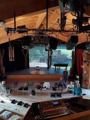 Theaterbau, Blick vom Regiepult. Spielstätte bis zu 200 Gäste