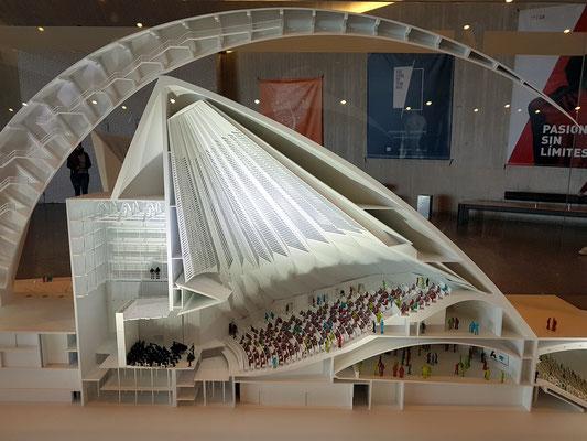Modell des Auditorio de Tenerife (Architekt: Santiago de Calatrava), Großer Saal und Kammermusiksaal (rechts)