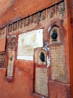 Sati-Steine, Handabdrücke königlicher Satis, Festung Junagarh in Bikaner