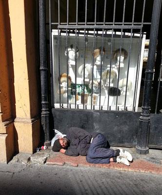 Obdachloser auf der Rákóczy út