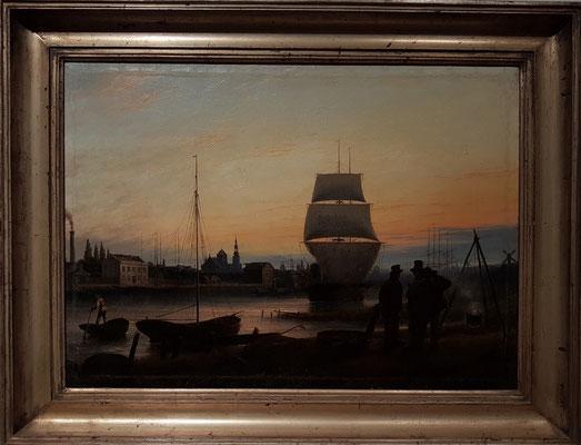 Johann Friedrich Boeck (1811-1873): Greifswalder Hafen, um 1840, Öl auf Leinwand