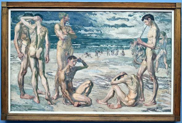 Max Beckmann (1884-1950): Junge Männer am Meer, ölhaltige Farben auf Gewebe, 1905