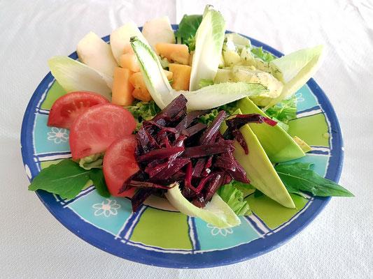 Ensalada mixta (mit Apfelscheiben, Avocado, Rote Beete, Chicoree, Gurken und grünen Salatblättern und hausgemachter Soße) ...für Ricarda