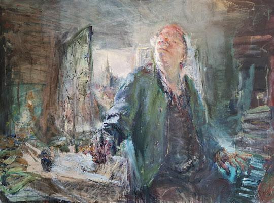 """Bach-Gemälde von Johannes Heisig """"Dir, dir Jehova will ich singen (zu Bach)"""". Mischtechnik auf Leinwand, 2004, das Bach in seiner """"Componir-Stube"""" darstellt. Heisig war 2004 Stadtgast in Eisenach."""