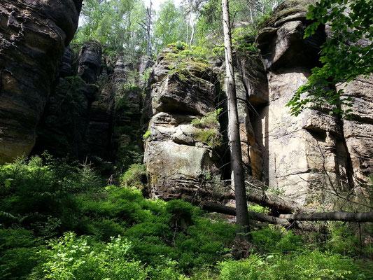 Wanderweg zu den Schrammsteinen