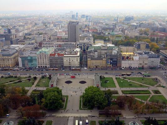 Blick von der Aussichtsplattform des Kulturpalastes nach SSO: Aleje Jerozolimskie