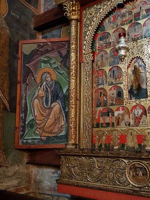 Elias wird von einem Raben gespeist. Kopie des Freskos aus dem 13. Jh.; das Original ist für den Besucher nicht zugänglich.