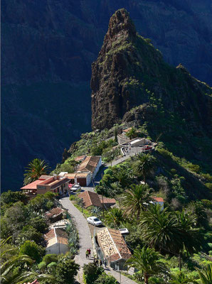 Masca, abgeschiedenes Dorf oberhalb des wildromantischen Barranco de Masca, alte Bautechniken der Wohnhäuser