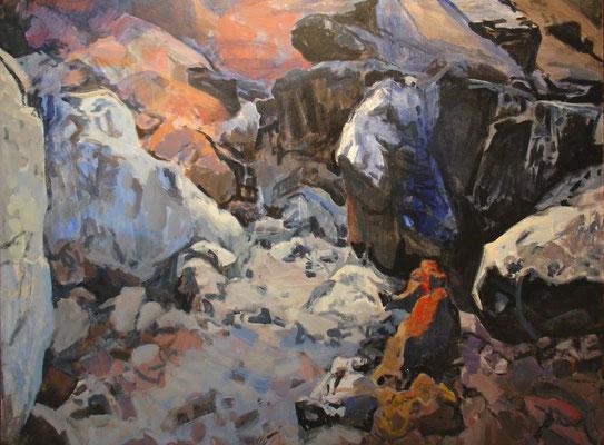 Puerto del Rosario, Kunstausstellung im Centro de Arte Juan Ismael, expressive Felsenlandschaft von Miró Mainou