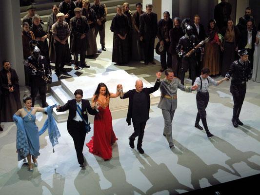 Anat Edri, Cecilia Molinari, Agneta Eichenholz, Dirigent Stefano Montanari, Lothar Odinius, Anna Goryachova, Markus Suihkonen (v.l.n.r.)