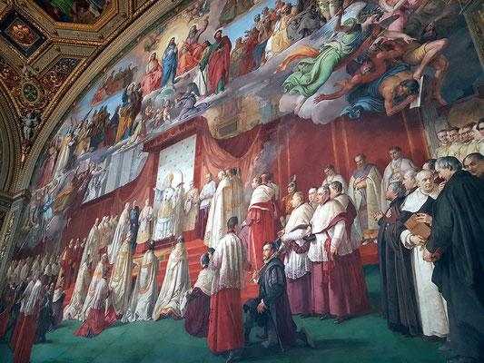 Saal der Immacolata. Nach der Verkündigung des Dogmas von der Unbefleckten Empfängnis 1854 beschloss Papst Pius IX., dieses Ereignis mit einem Freskenzyklus zu feiern. Seine Wahl fiel auf den großen Saal gleich neben den Stanzen des Raffael.