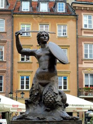 Rynek Starego Miasta. Denkmal der Meerjungfrau auf dem Marktplatz der Altstadt