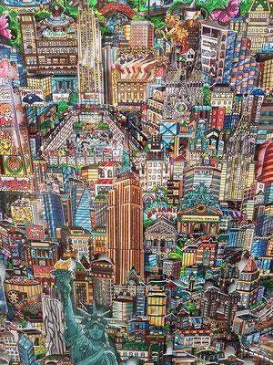 Charles Fazzino, geb. 1955 in New York. In seinen Bildern sind mehrere detailreich gestaltete Ebenen hintereinander gesetzt, die so einen räumlichen  Bildeindruck entstehen lassen.