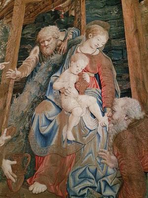 Flämische Gobelins aus dem 15. und 16. Jh. in der Galleria delle carte geografiche. Scuola Nuova Serie von einem Cartoon aus der Schule von Raffael