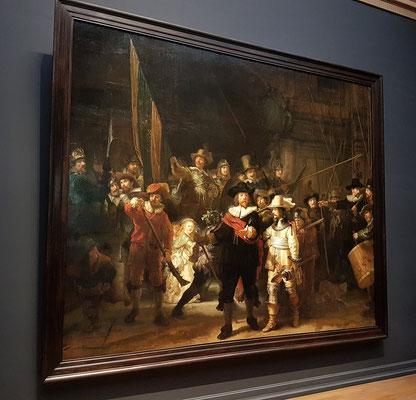 Rembrandt van Rijn: Die Nachtwache, Öl auf Leinwand 363 × 437 cm, 1642
