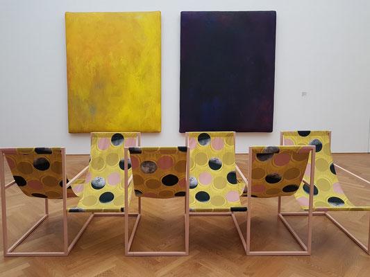 Gotthard Graubner (1930-2013): Diptychon: sonnengelb-rußviolett, 1989/90, Öl und Acryl auf Leinwand und Synthetikwatte