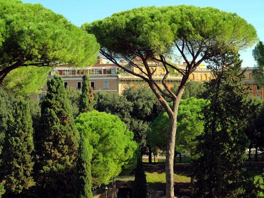 Blick von der Engelsburg auf den Parco della Mole Adriana