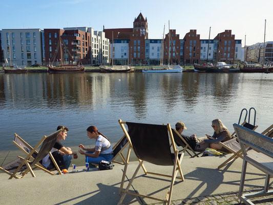 Blick über den Ryck auf Greifswald