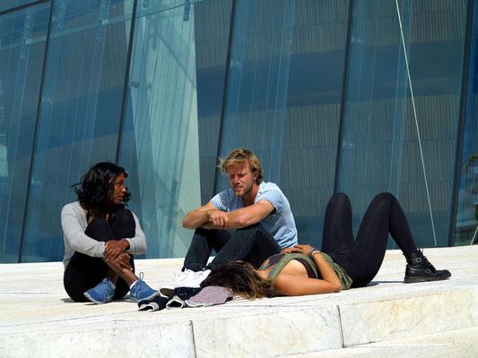 Freizeit auf dem Dach des neuen Opernhauses