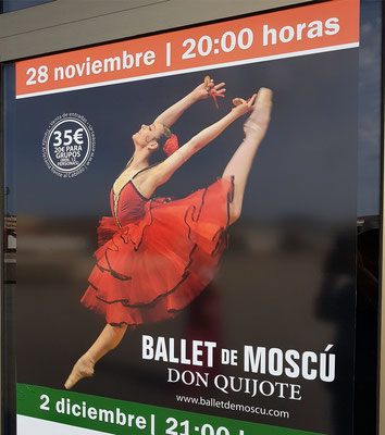 Plakat des Ballet de Muscú mit Don Quijote, Aufführung am 28. 11. 2017 im Auditorio von Puerto del Rosario