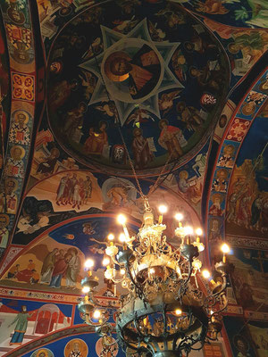 Dreifaltigkeitskirche in der Altstadt von Budva, Decke mit Fresken aus dem 19. Jahrhundert