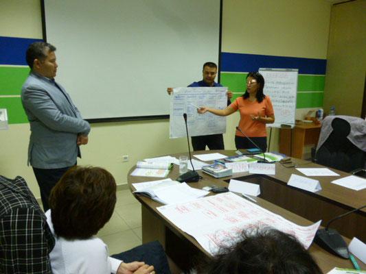 Участники тренинга демонстрируют результаты практической работы, Атырау, 2014 г.