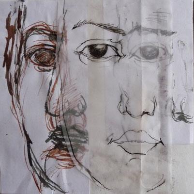 Porträtbilder der unbekannten Frauen 20x20 verschiedene Techniken 2019