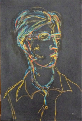Christian Farbkreidezeichnung schwarze Leinwand, 45x30 2006