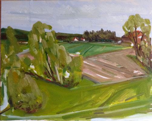Landschaft mit Feld 40x50 Öl Lw 2021