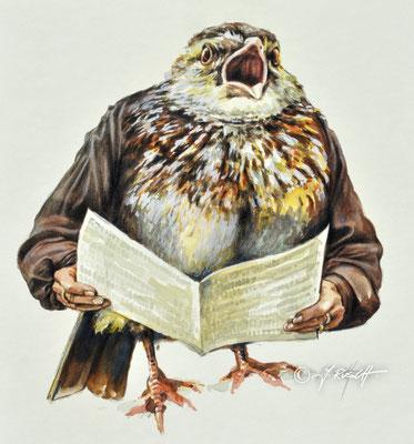 """""""Singdrossel"""" Aquarell und Zeichnung auf Karton ca 32 x 30 cm Preis: 920.- Euro"""