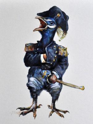 """Bonapartepfau"" Aquarell und Zeichnung auf Karton ca. 35 x 30 cm Preis 820.- Euro"