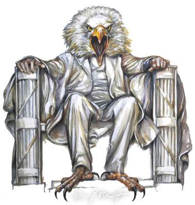 """""""American Eagle"""" Aquarell und Zeichnung auf Karton Format 50 x 40 cm Preis: 980.- €"""