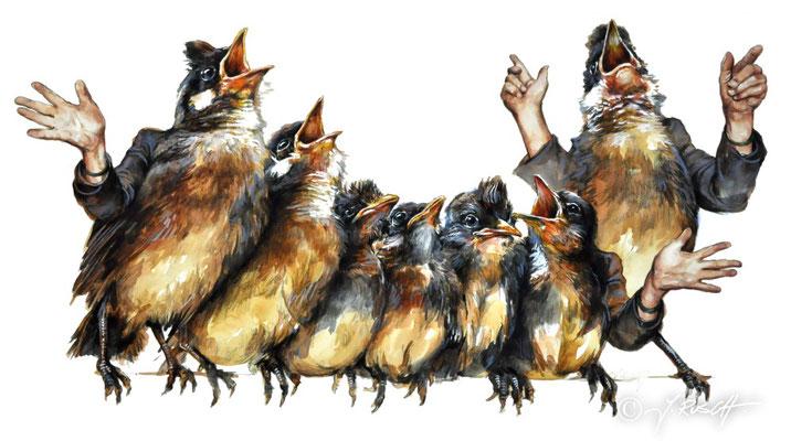 """""""Der Chor"""" Aquarell und Zeichnung auf Karton ca. 38 x 67 cm s Preis: 980.- €"""