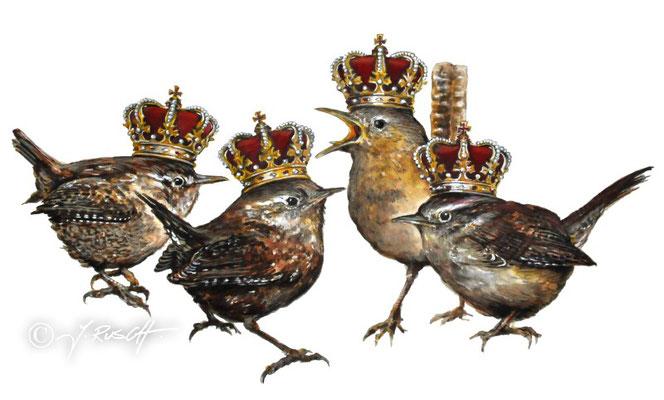 """Zaunkönige"" (Quatuor Coronati) Aquarell und Zeichnung auf Karton 26,5 x 57 cm Preis: 1400.- €"