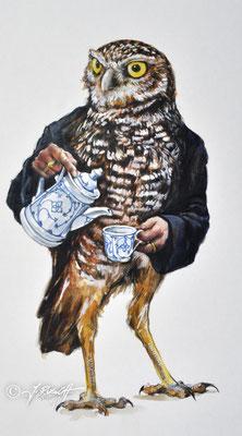 """""""Mit oder ohne ?"""" Aquarell und Zeichnung auf Karton. Format 52 x 38 cm Preis: 980.- €"""