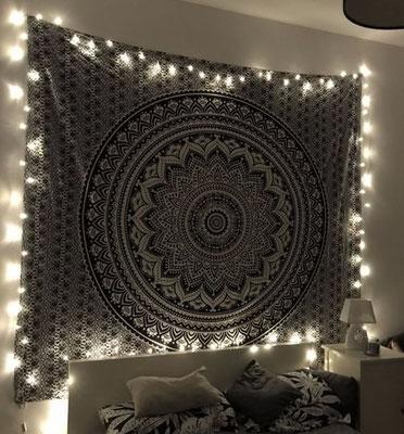 Wandtuch mit Ombre Mandala in schwarz