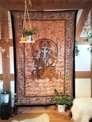 Wandtuch mit Hindugott Ganesha