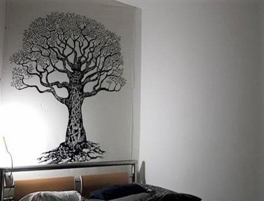 Weltenbaum Wandtuch weiß schwarz UV aktiv