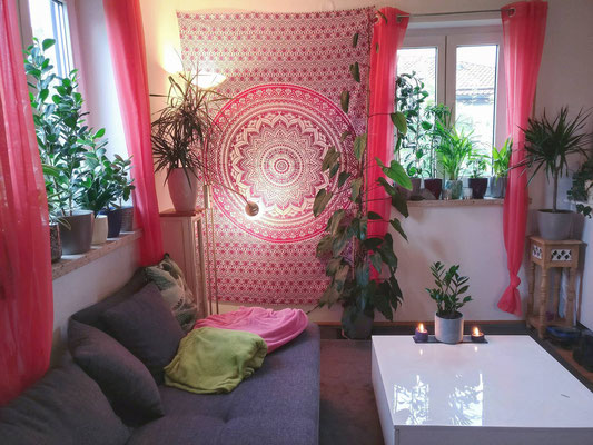 Ombrè Mandala Wandtuch in rosa