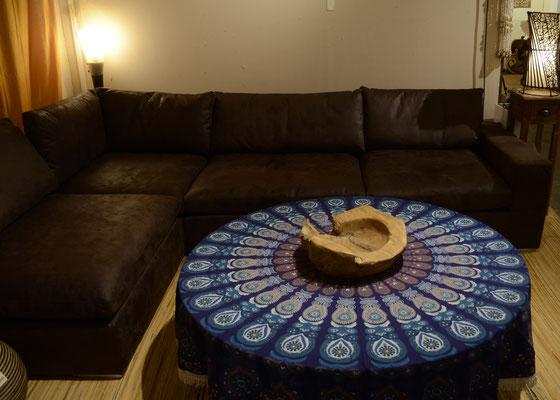 Runder Glastisch mit Mandala Roundie in blau
