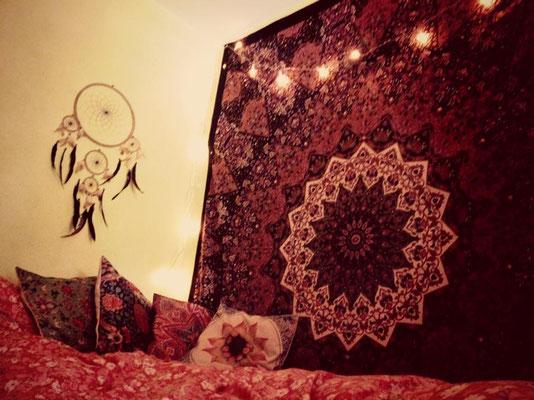 Wandbehang Stern Mandala schwarz rot braun