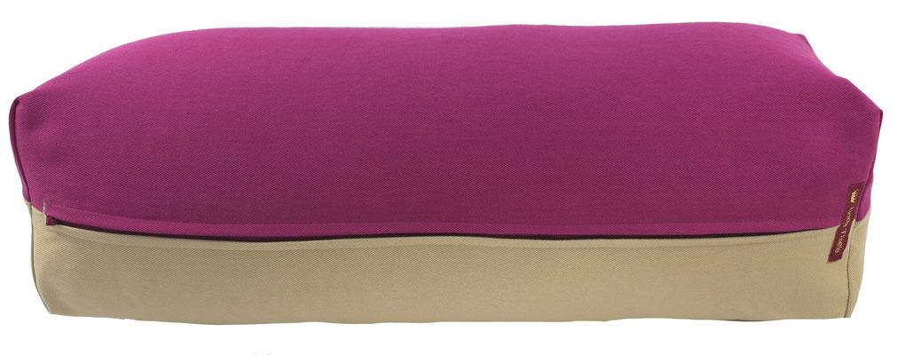 Yoga Bolster eckig Köln rotviolett + beige