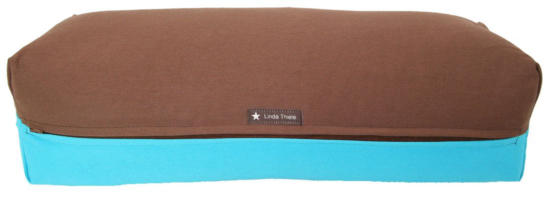 Yoga Bolster eckig Colorline braun + türkis