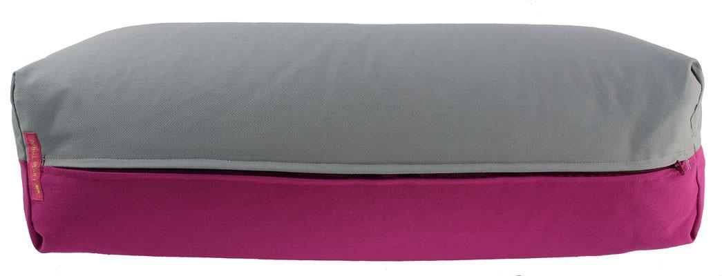 Yoga Bolster eckig Köln silbergrau + rotviolett