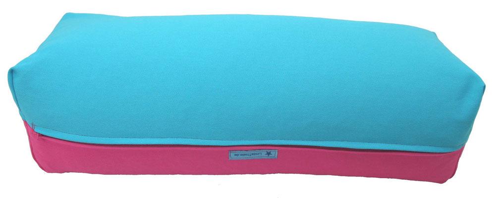 Yoga Bolster eckig Colorline pink + türkis