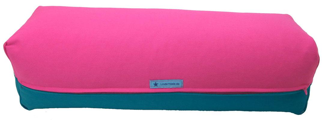 Yoga Bolster eckig Köln pink + petrol