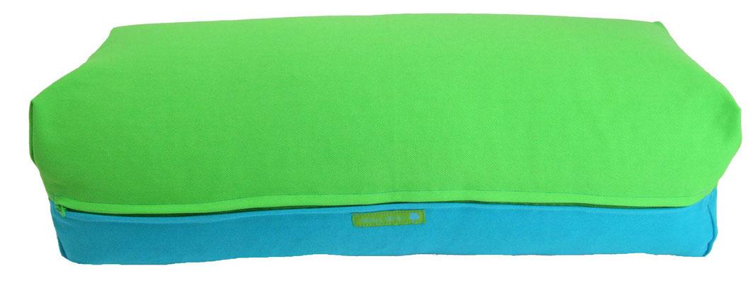 Yoga Bolster eckig Colorline giftgrün + türkis