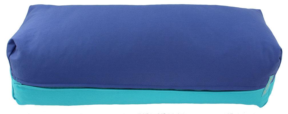 Yoga Bolster eckig Colorline jeansblau + türkis
