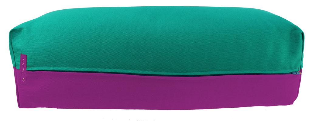 Yoga Bolster eckig Köln seegrün + rotviolett